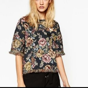 Zara Jacquard floral short sleeved military top